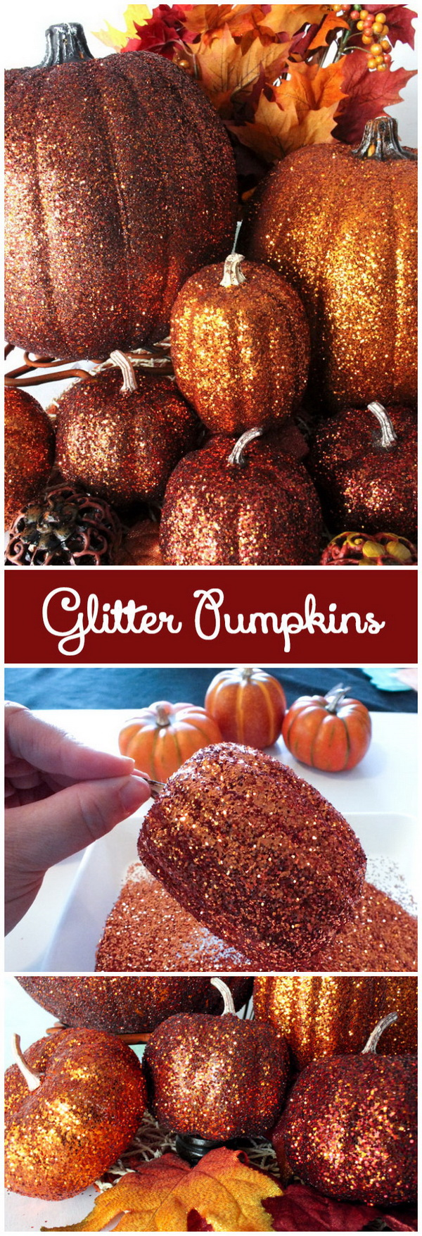 Glittery and Decorative Pumpkins. Stop to decorate this year with plain pumpkins, grab your glitter and add sparkle to your Halloween and fall decor with these stunning glittery pumpkins!