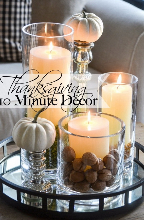 Thanksgiving 10 Minute Decor. Creat a cozy, yet elegant centerpiece with a beautiful grouping of late fall elements and glowing candlelight and bring a warm ambiance to your home! It is so easy to do it will take you about 10 minutes to put together.