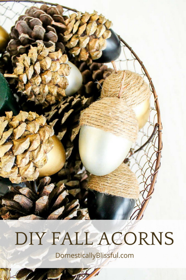 DIY Fall Acorns and Pine Cone Centerpiece. Create your own DIY fall centerpiece from spring Easter Eggs, pine cones and burlap to add to your fall.