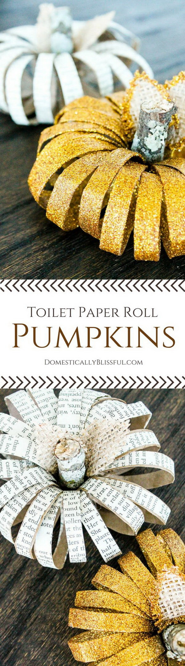 DIY Toilet Paper Roll Pumpkins. Make unique pumpkins with toilet paper rolls.
