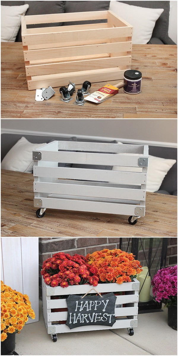 DIY Crate Planter for Front Door. Get some vintage wooden crates and create a front-porch planter box with a bit of working skills. Great for your front door decoration with some fall flowers inside!
