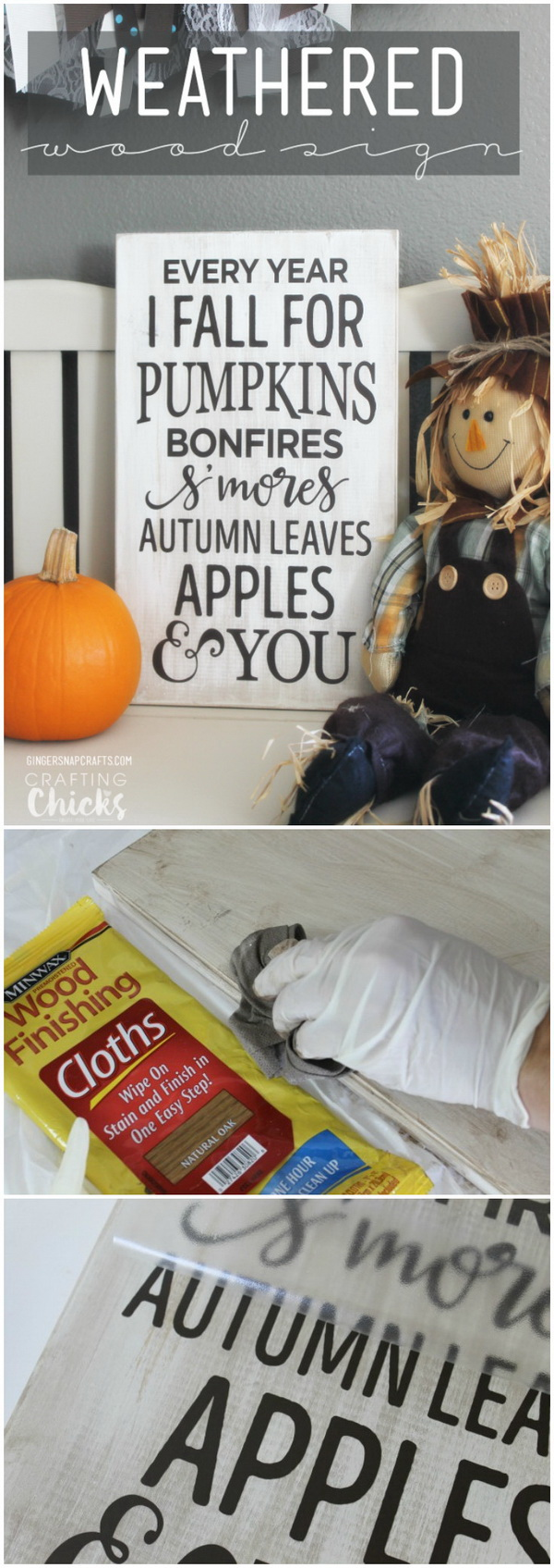 DIY Weathered Wood Sign For Fall. Make this cute & easy fall sign for your home with several steps!