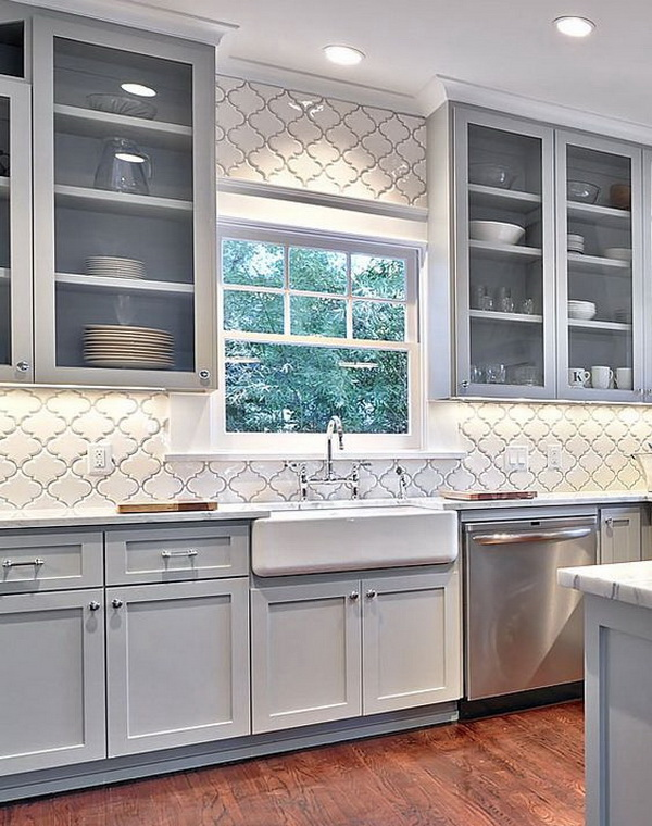 Arabesque Ceramic - Backsplash. White ceramic arabesque shaped mesh-mounted mosaic tile. Add class and elegance to your kitchen backsplash.