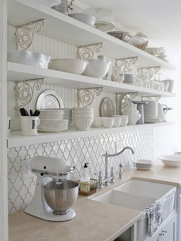 White Kitchen with Moroccan Tile Backsplash Beneath the Openshelves. Totally shabby chic look for cottage kitchen design!