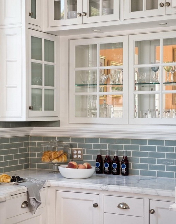 Blue Gray Subway Glass Tile Backsplash. The Softer Hue With A Hint Of Gray  Is