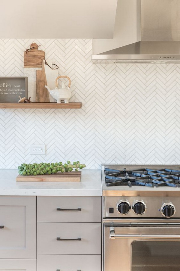 Marble Herringbone Backsplash.