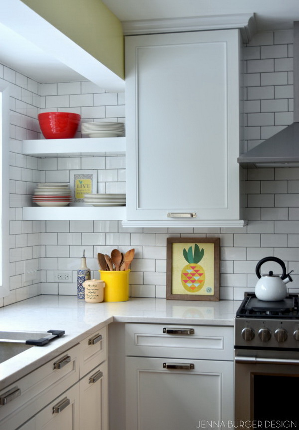 White subway tile backsplash. The classic white subway tile paired with dark grout for a modern edge!