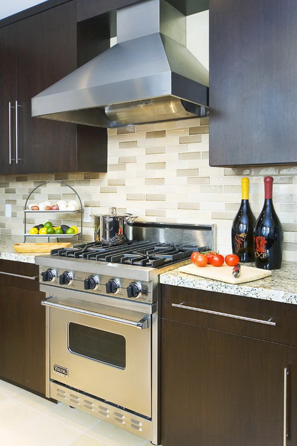 Multicolored subway tile backsplash. Love the subway tile backsplash in 3 different glaze colors and done with plain cream border.