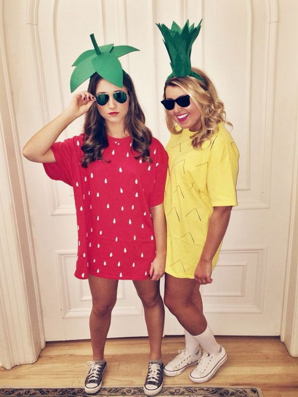 Strawberry and Pineapple best friend Halloween costumes.
