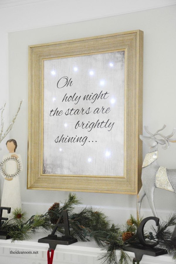 Lighted Christmas Sign. This lighted Christmas sign is so beautiful and bright and would make a wonderful gift for a friend! Repurpose a frame or purchase one from your local store amd make your own one.