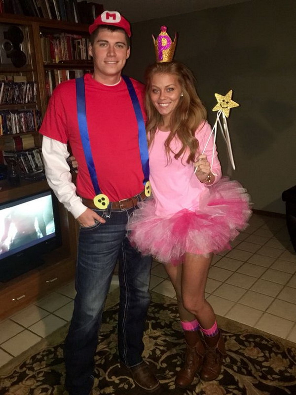 Mario and Princess Peach Halloween Costume Idea. Stylish Couple Costumes for Halloween.