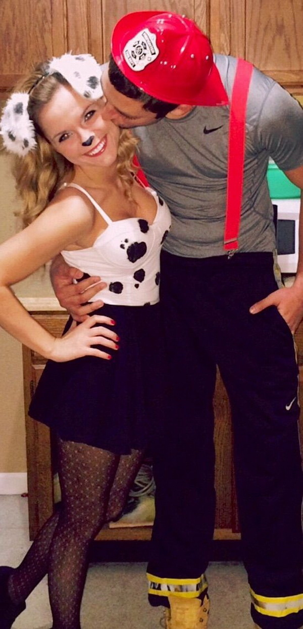 Dalmatians and Firemen. Stylish Couple Costumes for Halloween.