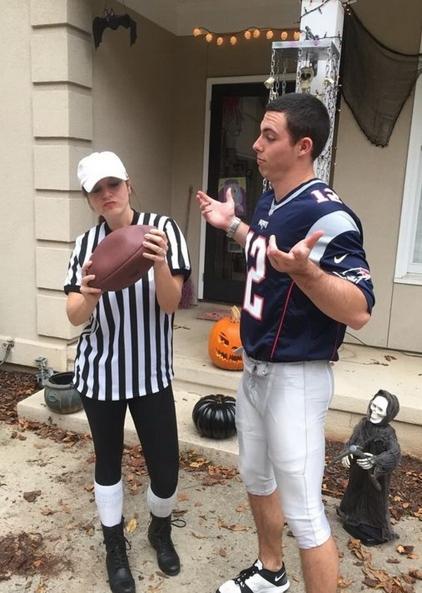 Tom Brady Deflated Ball Costume. Stylish Couple Costumes for Halloween.