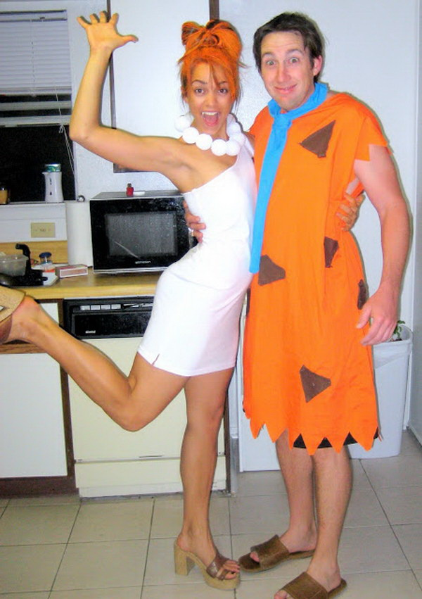 DIY Fred and Wilma Couple Costume. Stylish Couple Costumes for Halloween.