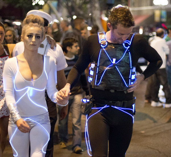 Eye-catching Tron Duo Couple Costume. Stylish Couple Costumes for Halloween.