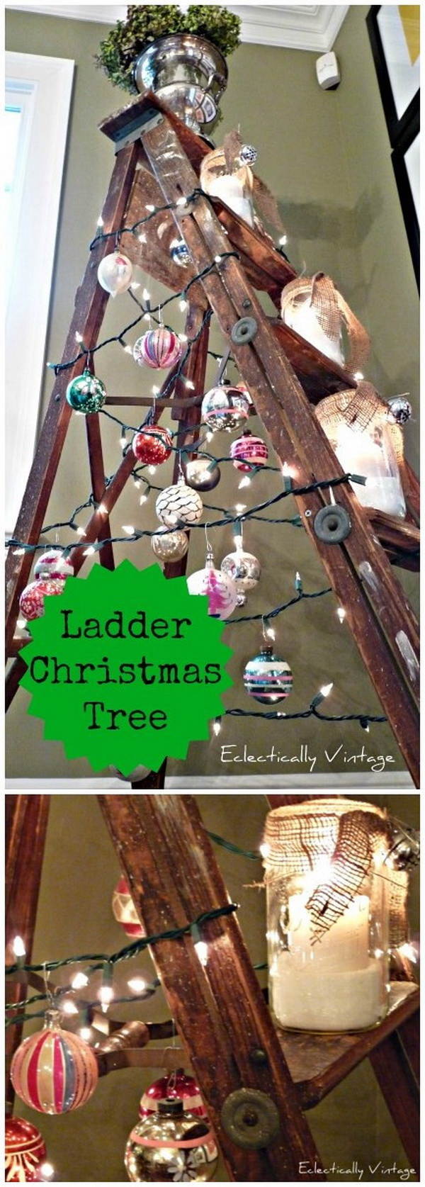 Farmhouse Ladder Christmas Tree. This ladder Christmas tree would be perfect in the dining room or anywhere you want to add a little rustic look to your décor.