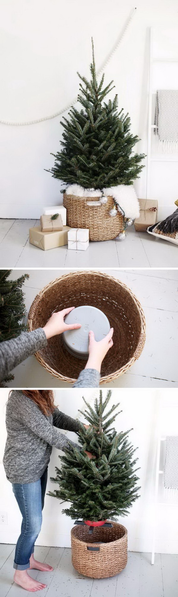 DIY Christmas Tree. Use baskets as a tree base and then put inside a smaller trees,then you can decorate as you like. This is the easiest holiday that you can make for your farmhouse decoration.