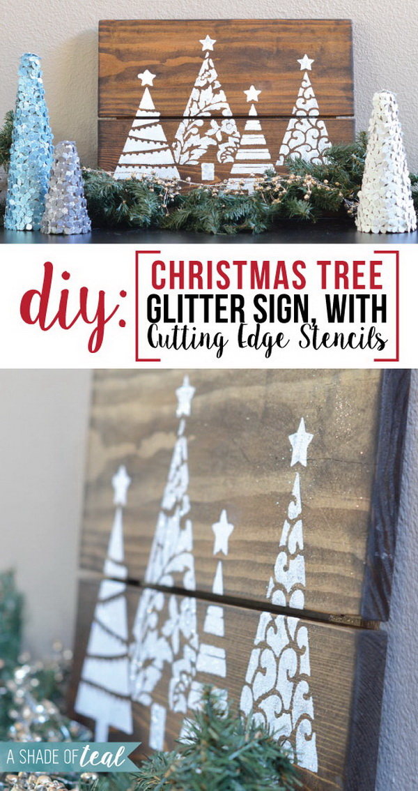 Create a rustic holiday sign for your mantel with Cutting Edge stencils.