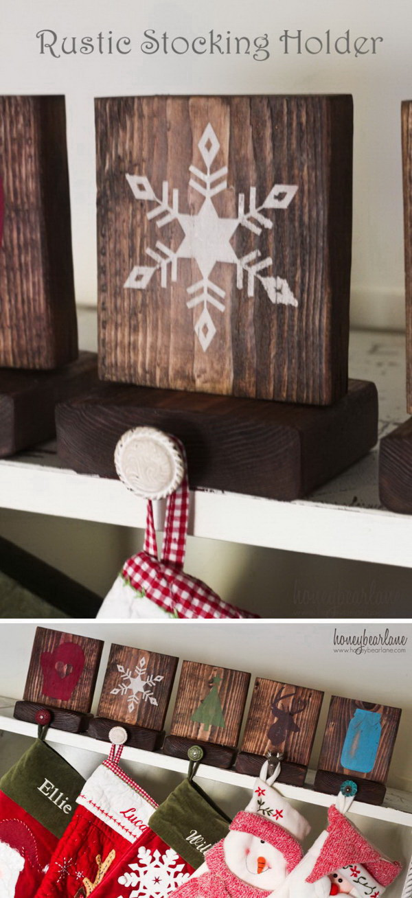 Rustic Stocking Holders. Make your own unique stocking hangers using wooden blocks that you might already have lying around, then decorate with adorable Christmas images!