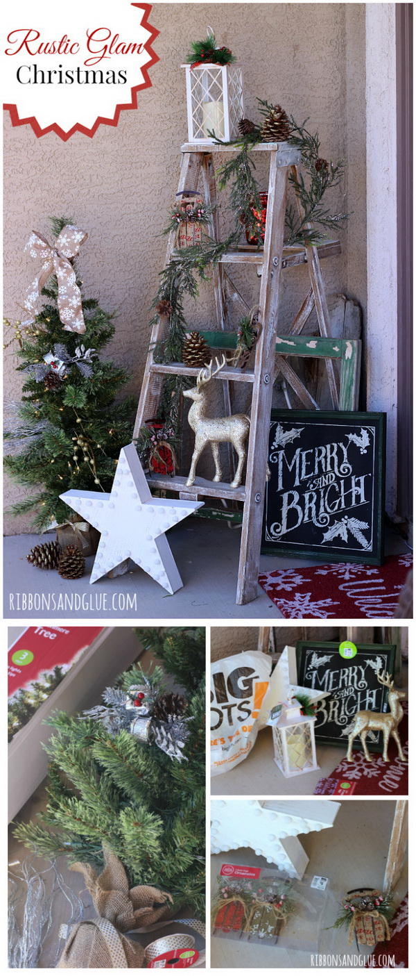 Love the ladder with all the pinecones and other rustic decor. The sign oooh the sign is one of my favorites! Such a creative way to decor your porch!