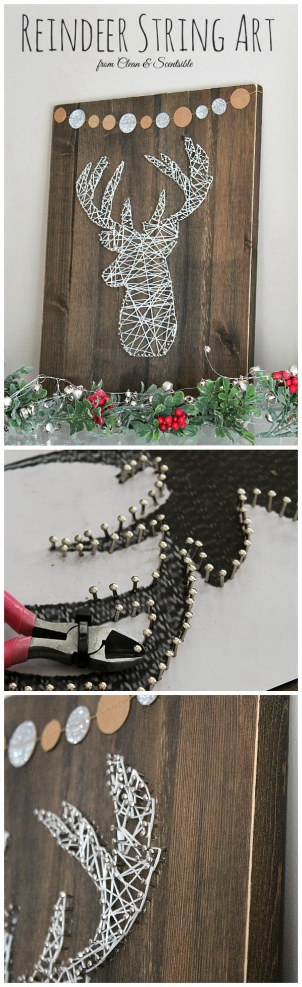 Deer Head String Art. Make an elegant and beautiful deer head string art craft for that rustic glam touch to your farmhouse Christmas decor!