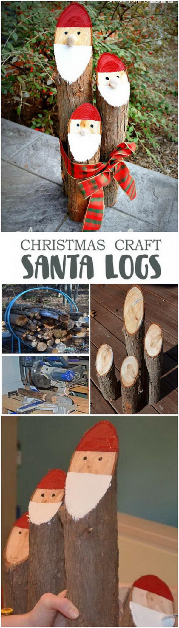 Santa Claus Fire Wood Bundle. Make a cute Santa Claus out of cedar logs for your outdoor Christmas decoration!  so very cute and rustic for your front porch!