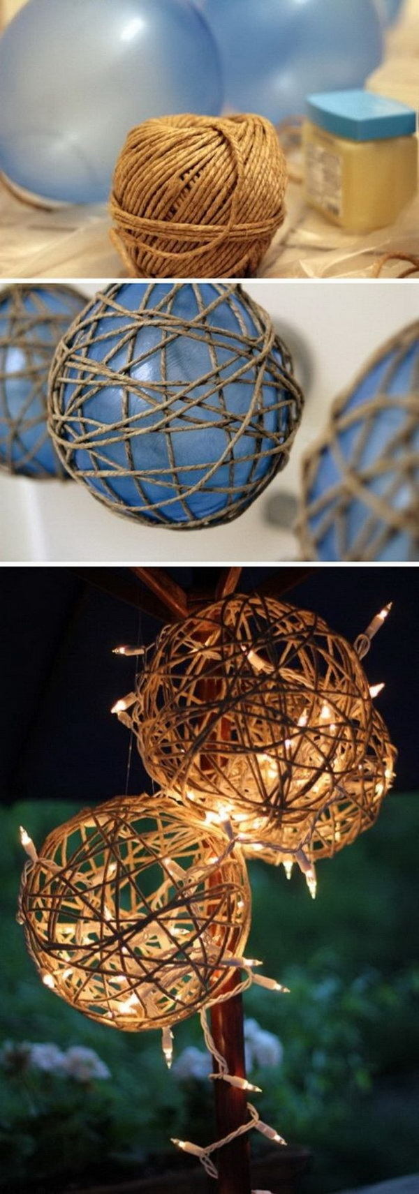 DIY Twine Garden Lanterns. This DIY twine garden lantern is sure to help you achieve that country look that you want. They're relatively easy to make and you only need some twine and holiday lights.