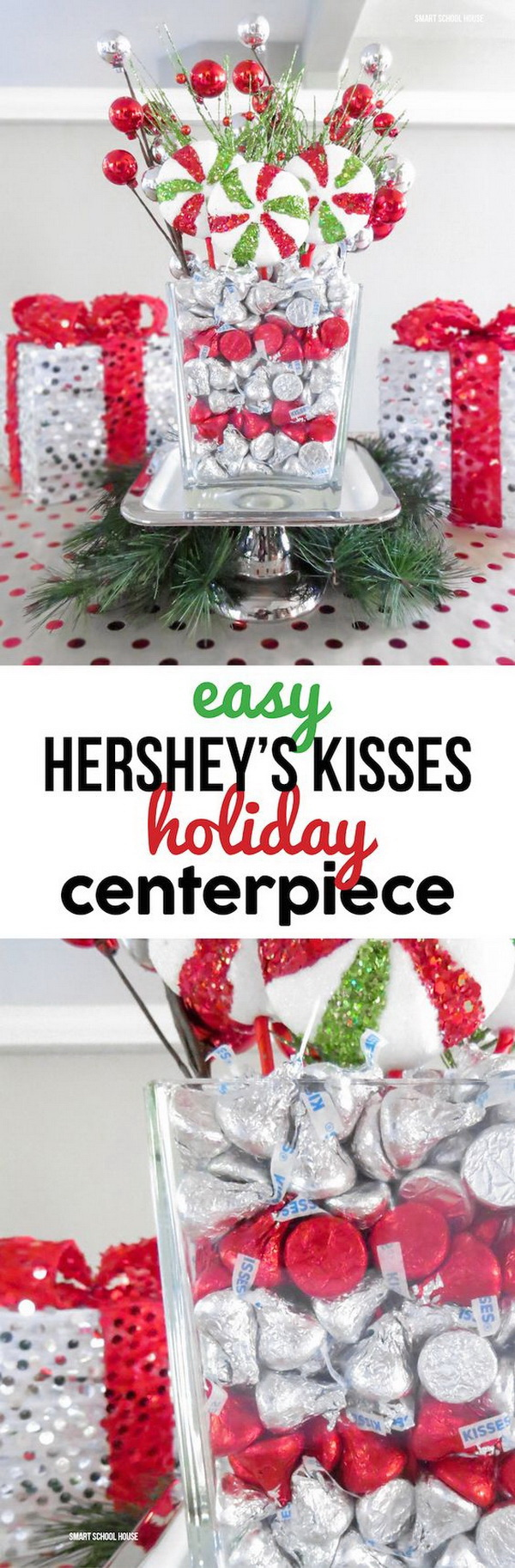 Homemade Projects & Ideas for Christmas Decoration: DIY Festive Holiday Centerpiece Filled With Chocolate Kisses.