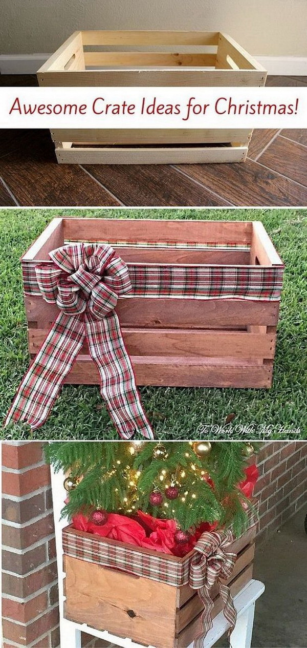 Homemade Projects & Ideas for Christmas Decoration: DIY Faux Wood Crate Planter for Christmas.