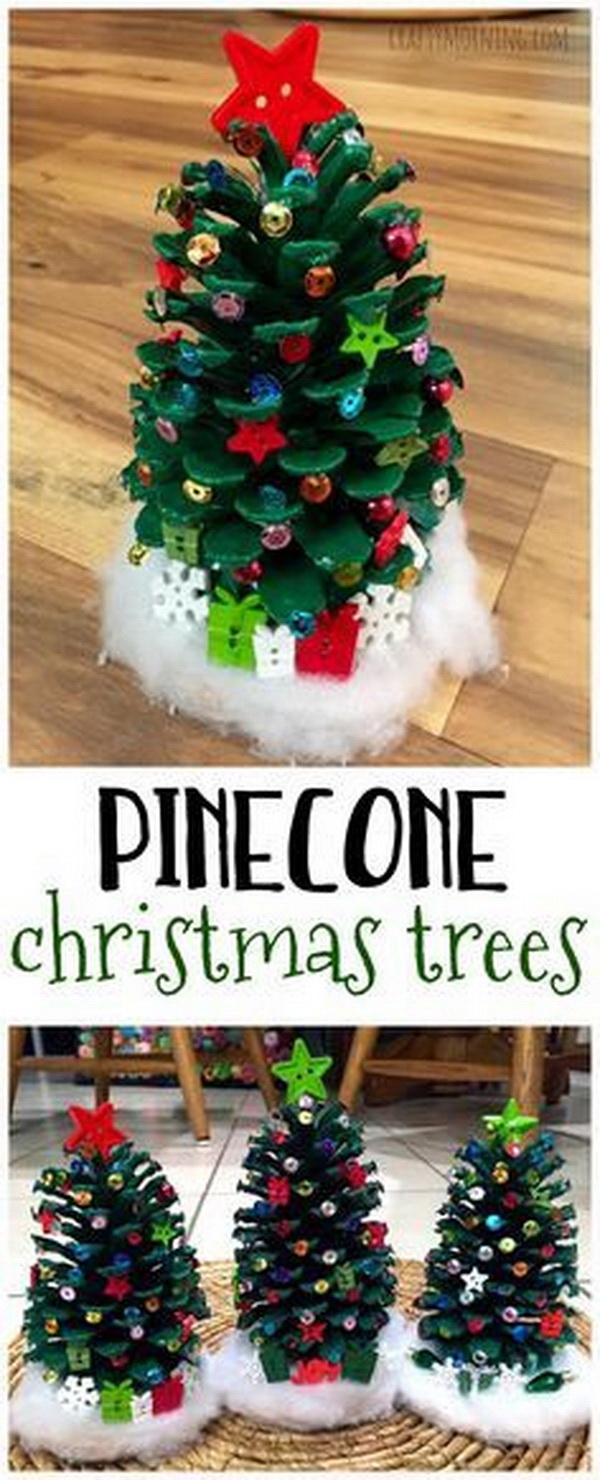 Homemade Projects & Ideas for Christmas Decoration: Pinecone Christmas Trees.