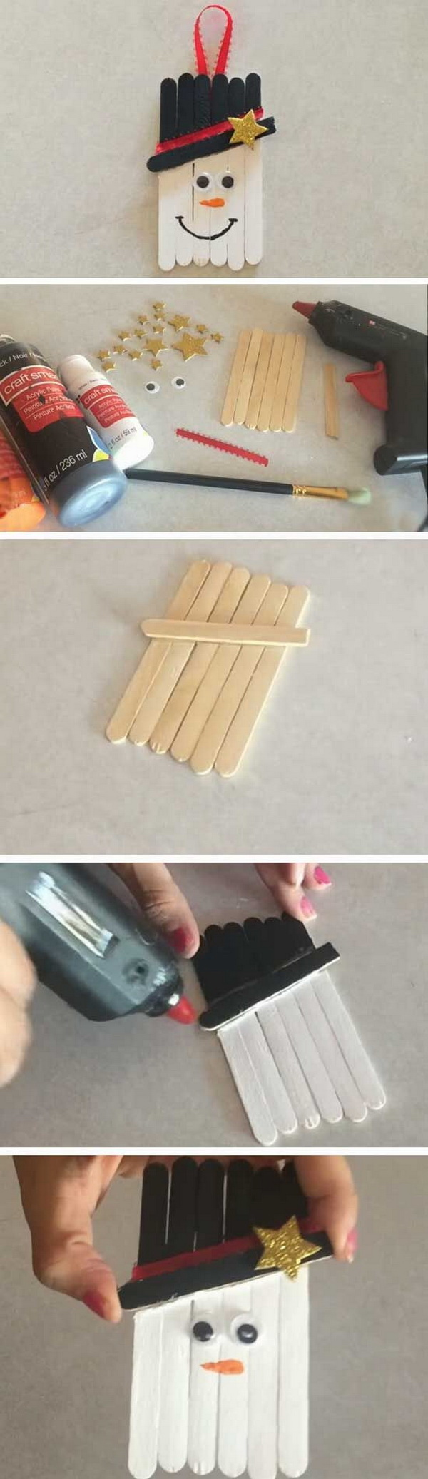 Popsicle Sticks Snowman. Turn the popsicle sticks laying around your craft room into these cute snowmen crafts! Easy and Fun DIY Christmas crafts for You and Your Kids to Have Fun.