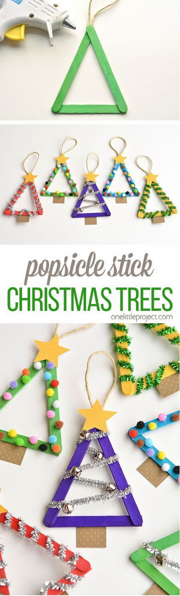 Popsicle Stick Christmas Trees. Easy and Fun DIY Christmas crafts for You and Your Kids to Have Fun.