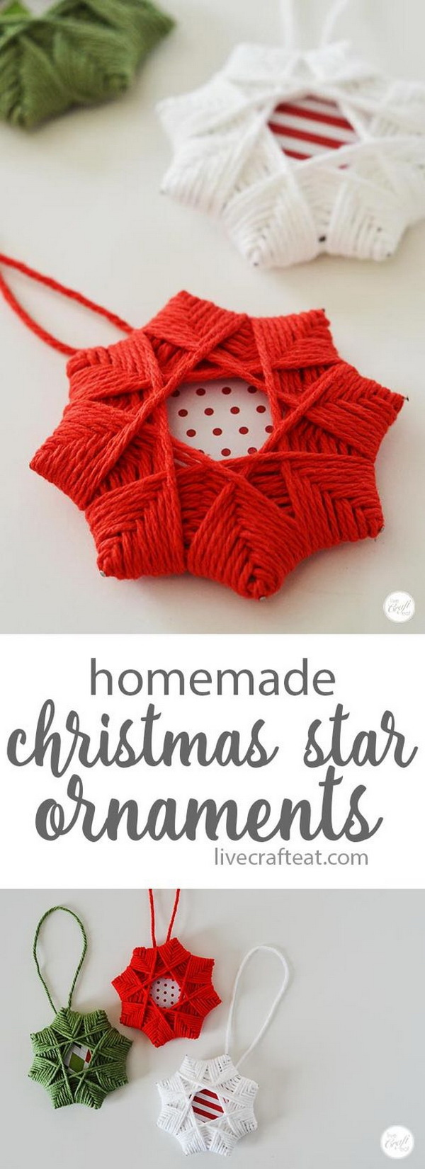 Homemade Christmas Tree Star Ornament With Yarn. Easy and Fun DIY Christmas crafts for You and Your Kids to Have Fun.