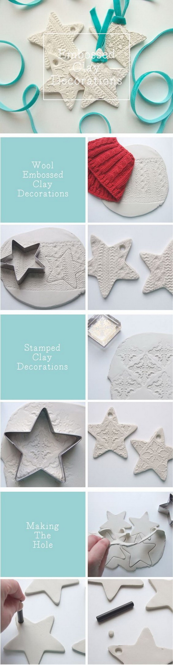 Embossed Clay Star Ornaments. Easy and Fun DIY Christmas crafts for You and Your Kids to Have Fun.