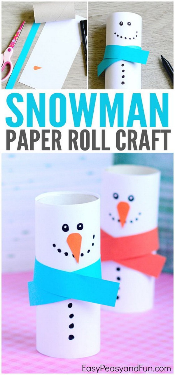 Paper Roll Snowman Craft - Winter Crafts for Kids. Easy and Fun DIY Christmas crafts for You and Your Kids to Have Fun.