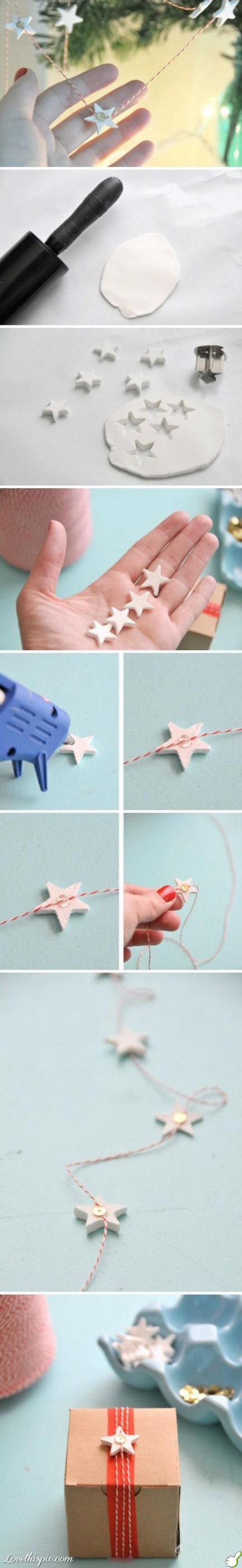 DIY Star Garland Gift Wrap. Make gift giving festive, modern, and fun this season with this easy star garland gift wrap DIY. Easy and Fun DIY Christmas crafts for You and Your Kids to Have Fun.