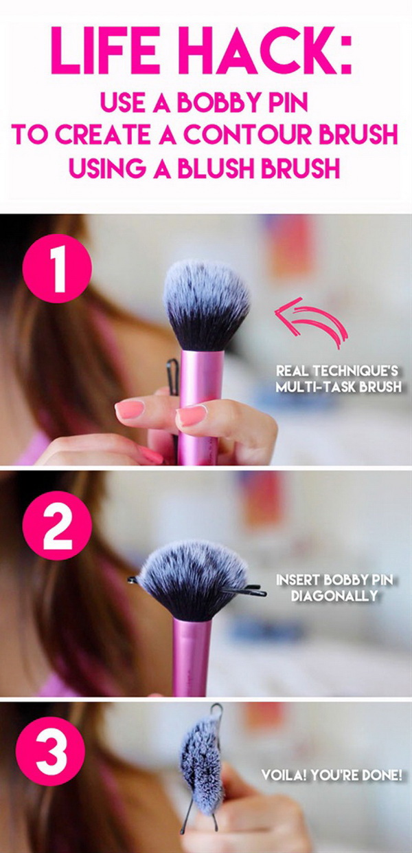 Create a Contour Brush From a Blush Brush. Don't have a contouring brush and have no time to buy one immediately? Make one of your own from a blush brush just with a bobby pin!