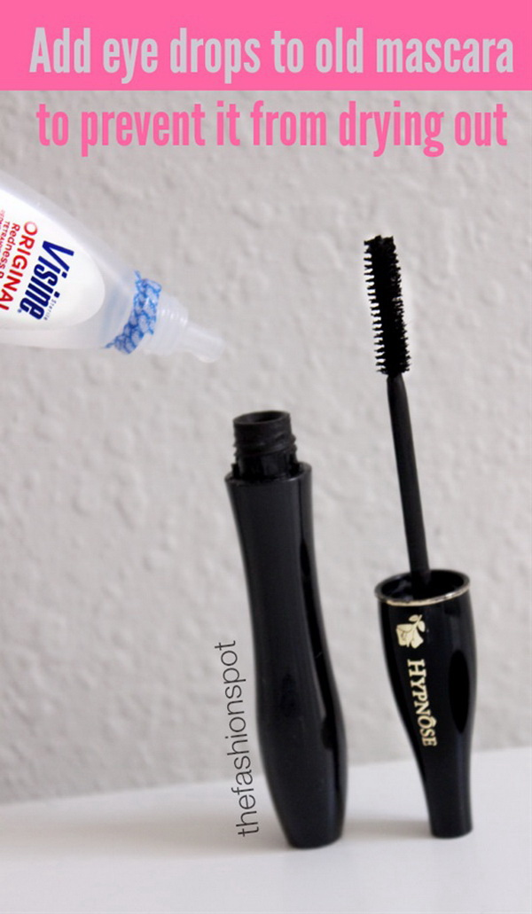 Prevent Mascara From Drying Out Using Eyedrops. The mascara seems to dry out or clump sooner as time goes. Instead of throwing it away and get a new one, try this quick and easy tip to keeping mascara liquid and smooth without adding harsh chemicals. Just add 2-3 eye drops and it will be as good as new.