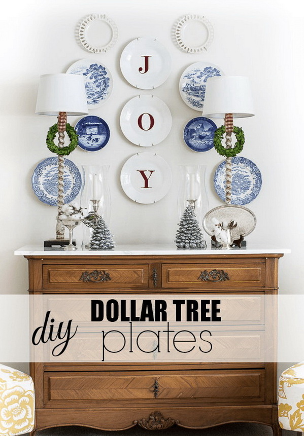 DIY Dollar Tree Joy Plates. The holly jolly red touches amongst the blue and white are perfect for the holidays. They are so quick and simple that anyone can do and look perfect on your walls.