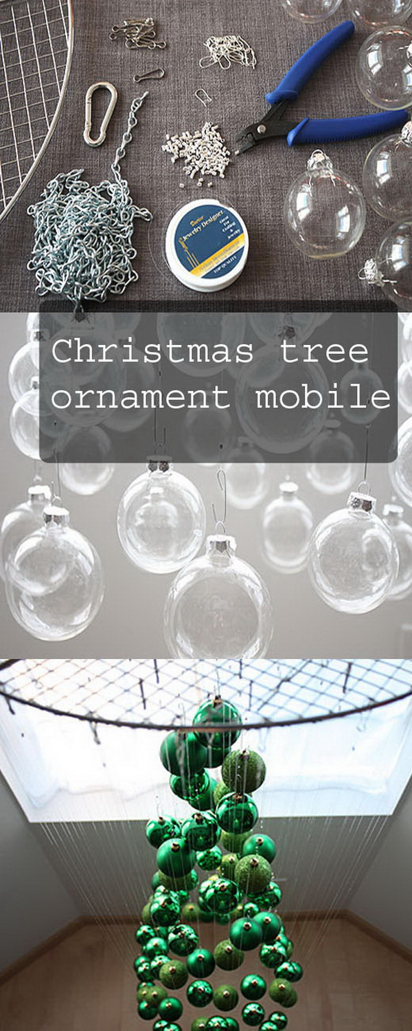 Christmas Tree Ornament Mobile. Take a different way to dispaly your Christmas tree this year!