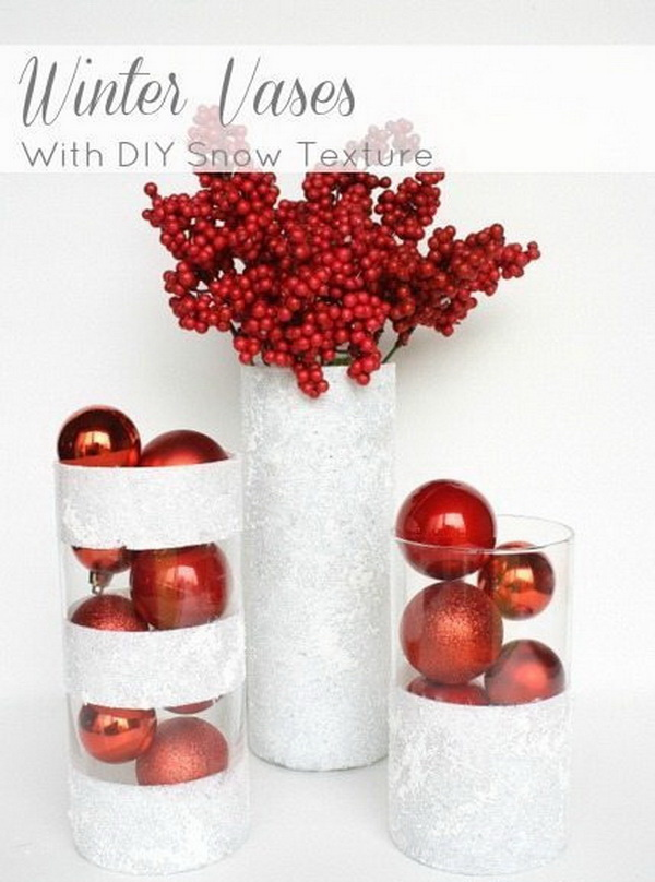 Winter Vases with DIY Snow Texture. The white snow effect against the clear vase creates a kind of winterland effect!