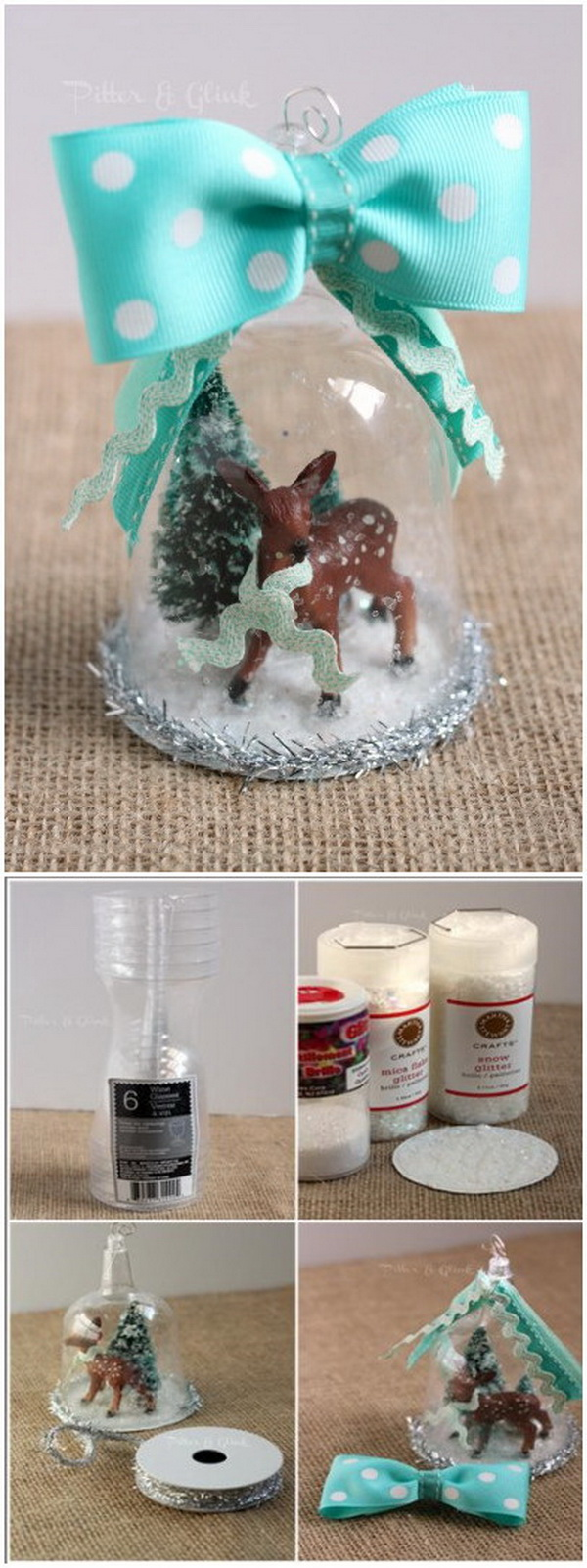 Handmade Deer Snow Globe Ornament. Handmade snow globe ornament made from the plastic wine glasses and decorated with a deer inside and a big bow on top! Easy to make with all materials from dollar store!