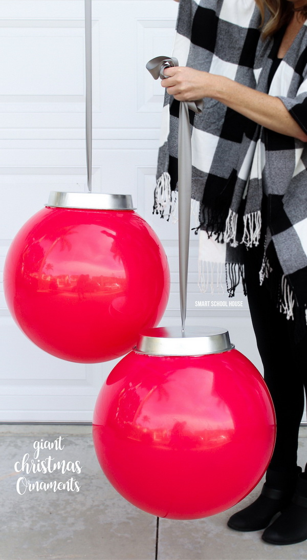 Giant Christmas Ornaments. These giant Christmas ornaments are perfect for both indoor and outdoor decoration for the holiday season! It looks so cute and easy to put together and will only cost a few dollars to make!