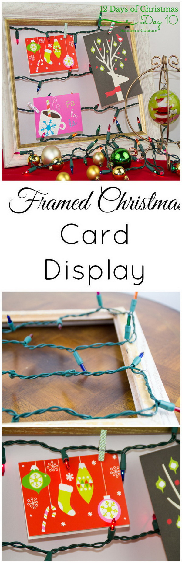 Make your home look festive for less this holiday season with easy DIY dollar store Christmas decor ideas. Wreaths, candles, centerpieces, wall art, ornaments, vases, gifts and more! Framed Christmas Card Display With String Christmas Lights.