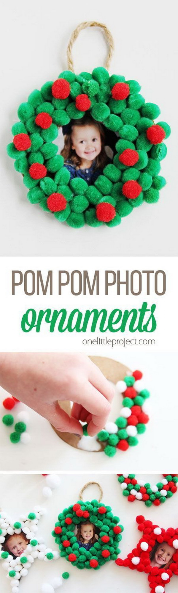 Pom Pom Christmas Photo Ornaments.