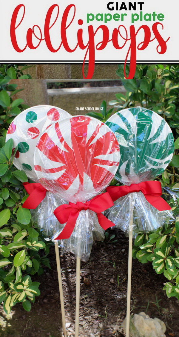 Giant Paper Plate Lollipops. These giant paper plate lollipops are super cute as a garden decoration for Chritmas! Make your home look festive for less this holiday season with easy DIY dollar store Christmas decor ideas. Wreaths, candles, centerpieces, wall art, ornaments, vases, gifts and more!