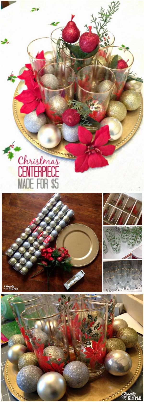 Meaningful Christmas Centerpiece For $5 & 70+ DIY Dollar Store Christmas Decor Ideas - For Creative Juice