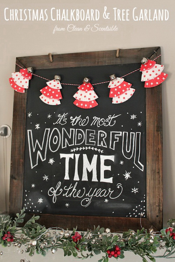 Christmas Chalkboard and Cupcake Tree Garland. Upcycle the leaftover cupcake liners into these adorable garland for your holiday decoration.