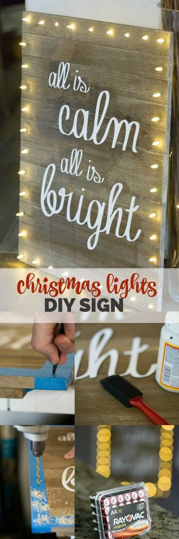 Christmas Lights DIY Board Sign. This DIY board sign with Christmas lights will be a great addition to your rustic farmhouse decoration during this Christmas season!