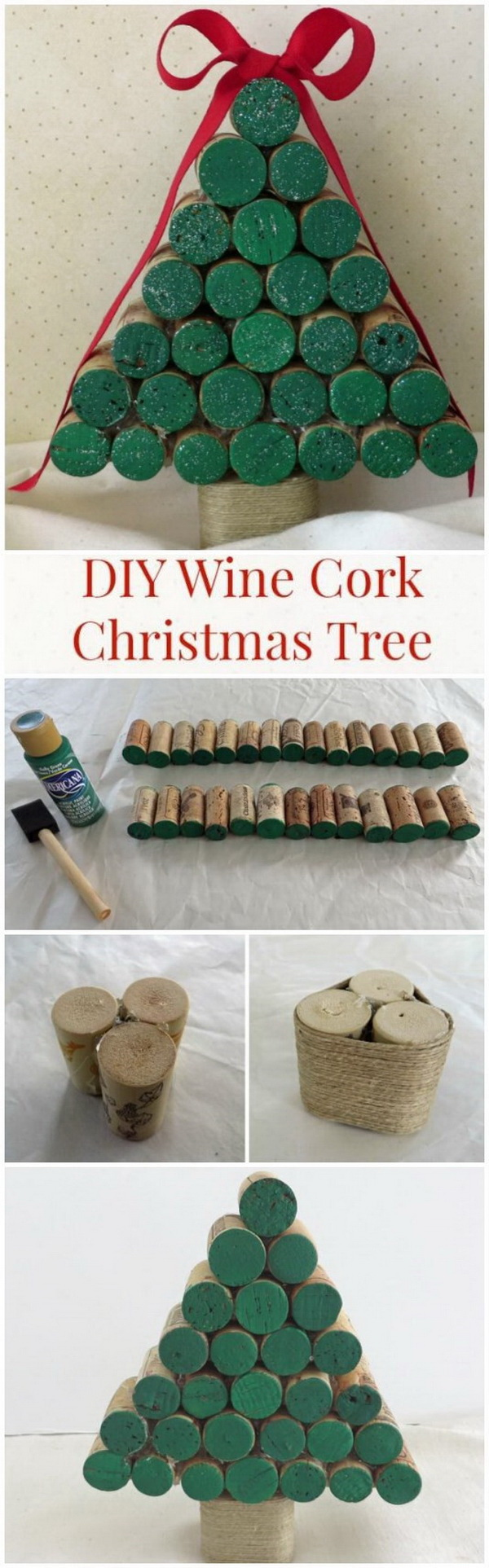 DIY Wine Cork Christmas Tree. A great way to upcycle the wine corks with this easy and fun Christmas craft! A great holiday craft idea both for kids and adults!